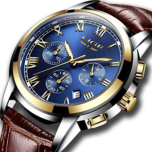 - 61E5kDmmOwL - Mens Watches Leahter Analog Quartz Watch Men Date Business Dress Wristwatch Men's Waterproof Sport Clock