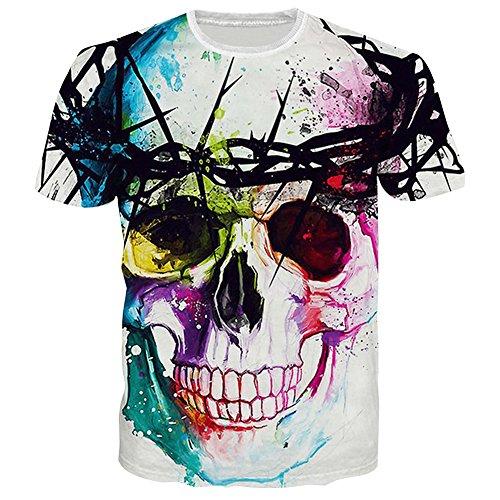 BFUSTYLE Womens Floral Skull Print Short Sleeve Crewneck T Shirts Kleidung M (T-shirt Grafik Crewneck Herren)