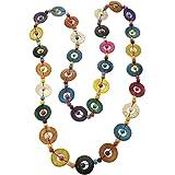 PRETYZOOM Collana Etnica Bohémien Lunga Collana di Perline Tonde Colorate Gioielli Fatti a Mano Vintage Boho per Donna Donna
