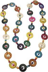 PRETYZOOM Collana Etnica Bohémien Lunga Collana di Perline Tonde Colorate Gioielli Fatti a Mano Vintage Boho per Donna Donna Festa della Mamma