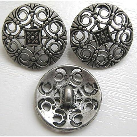 4x pulsanti in metallo in filigrana, 18mm, piombo, cadmio e nichel free (M52)