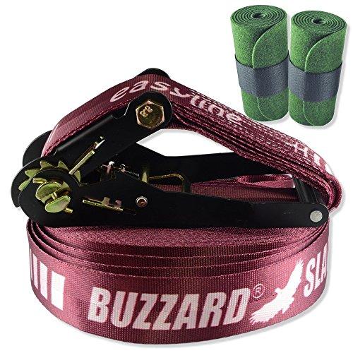 Buzzard Easy-Line Slackline-Set, 15 m lang, 5 cm breit + Baumschutz