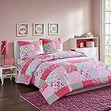 MIZONE 3tlg. Bettwäsche Set in Patchwork-Look 100% Baumwolle Bettgarnitur Karo Kariert Gestreift Doppelbett Rosa Weiß, 200x200cm+80x80cm