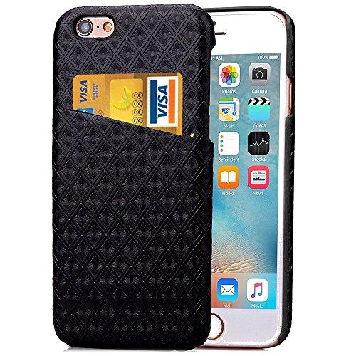 iPhone Case Cover Étui pour iPhone 6S, couverture arrière rigide Grille de diamant motif de treillis Housse de protection rigide avec fente pour carte pour iPhone 6S ( Color : Blue , Size : Iphone6S ) Black