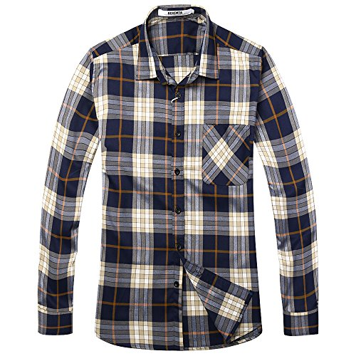 Phorecys Men's Long Sleeve Plaid Flannel Shirt