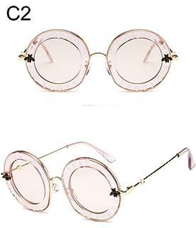08d0177a81b93 qbling technolog Lunettes de soleil femme ronde Retro Brand designer  anglais Lettres Bee cadre métallique Circle…