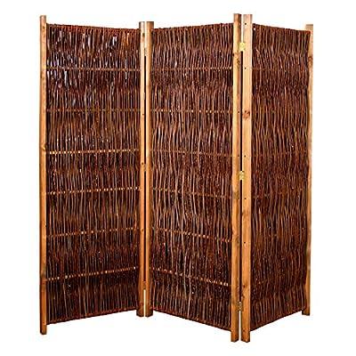 Weiden-Paravent Raumteiler 180x180 cm (LxH) 3-teilig aus Holz + Weide geflochten von Gartenpirat® von Gartenpirat - Gartenmöbel von Du und Dein Garten