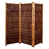 Gartenpirat Weiden-Paravent Raumteiler 180x140 cm (LxH) 3-teilig aus Holz + Weide Geflochten