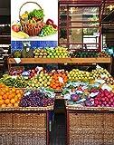 Vinilo decorativo pared 3D Fruteria | Cesta de Mimbre Frutas y Verduras | Piña | Pimiento | Manzana | Perejil | Naranjas | Pepinos | Kiwi | Cebolleta | Uvas | Maiz | Varias Medidas 125x90cm | Adhesivo Resistente y de Facil Aplicación | Multicolor | Pegatina Adhesiva Decorativa de Diseño Elegante | Decoración Puestos de Venta