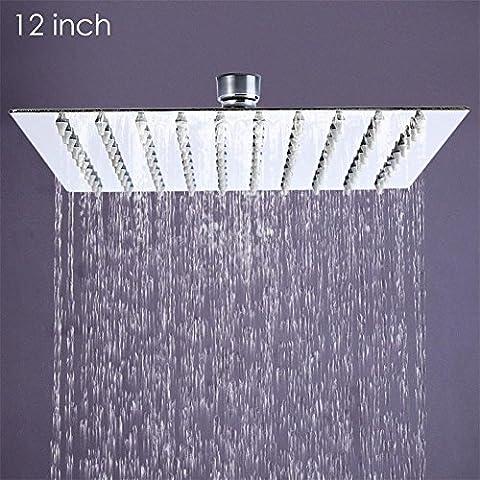 Modylee 12 pollici in acciaio inox Piazza Showerheads ultra-sottile 12 pollici pioggia soffione doccia a pioggia non Comprende braccio doccia