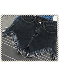 WHTLL-Dames denim short trou printemps taille irrégulière trou Denim Shorts Shorts larges Pantalons jambe
