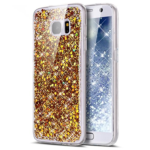 Custodia Samsung Galaxy A5 2017,Cover Samsung Galaxy A5 2017,Custodia Cover per Samsung Galaxy A5 2017,KunyFond Glitter Cristallo Lucido Strass Diamante Glitter Trasparente Caso con Strass Samsung Gal oro chiaro