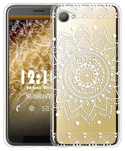 Sunrive Für HTC Desire 12 Hülle Silikon, Transparent Handyhülle Luftkissen Schutzhülle Etui Case für HTC Desire 12(TPU Blume Weiße)+Gratis Universal Eingabestift