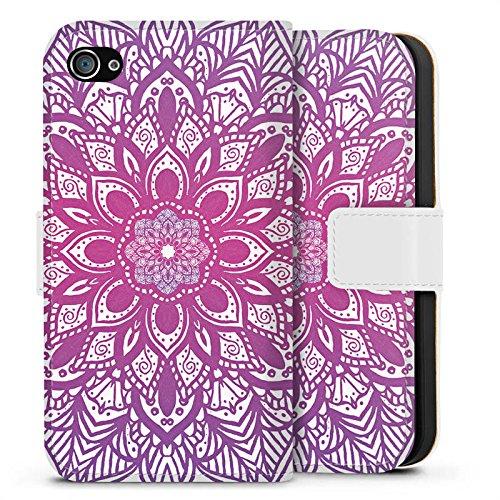 Apple iPhone X Silikon Hülle Case Schutzhülle Mandala Sommer Pink Sideflip Tasche weiß
