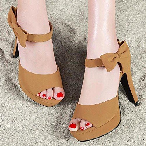 Lemon&T Summer Vintage Style Simple bowknot Décoration Peep-toe Women Rubber Sole 10CM Talons hauts talons Chunky Zipper sandales avec flatforms apricot