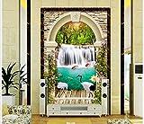 Chan-Mei 3D Wallpaper Foto Personalizada Decoración Mural 3D Arco De Piedra De Grúas Pórtico Carp Pintura 3D Pared Habitación Murales Papel Tapiz Papel Pintado Wallpaper Fresco Mural 350cmX300cm