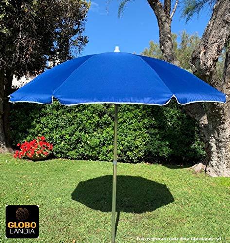 89503BLU - Ombrellone Parasole da Spiaggia in Alluminio da 220 cm con Snodo per la Reclinazione Colore Blu, per Spiaggia, Giardino e Balcone