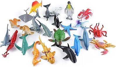 TOYMYTOY Bath Sea Animal Toys   24 Pack, Plastic Ocean Creature, Pool Toys Set, Cake Topper