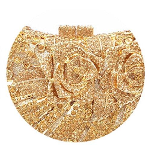 Borse Da Sera Della Frizione Delle Donne Di Bling Rosa Borsa Del Rhinestone Del Fiore Di Cristallo Gold