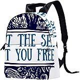 Leder-Rucksack, Schule, Uni, Büchertasche, Reisen, Büro, Laptop, Rucksack für Damen und Herren – Zitate Meeresmuschel