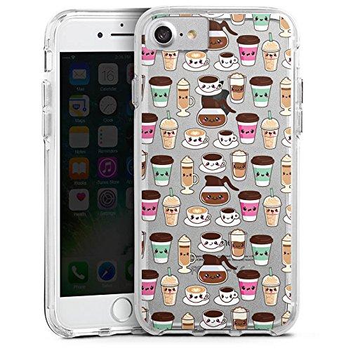 Apple iPhone 7 Bumper Hülle Bumper Case Glitzer Hülle Kaffee Coffee Kawaii Bumper Case transparent