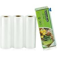 KitchenBoss Sac sous Vide Alimentaire,3 Rouleaux 15cmx5M,Total15 M,Rouleaux de Mise sous Vide avec 1 Boîte de Coupe(Pas…
