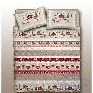 tex family housse de couette tyrolienne mod le valbadia rouge motif montagne pour lit 1 place. Black Bedroom Furniture Sets. Home Design Ideas