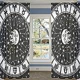 COOSUN Horoskop Kreis Stern Sheer Curtain Panels Tüll Polyester Voile Fenster Treatment Panel Vorhänge für Schlafzimmer Wohnzimmer Wohnkultur Schild, 55x78 Zoll, 2 Panels Set 55x78x2 (in) Multi