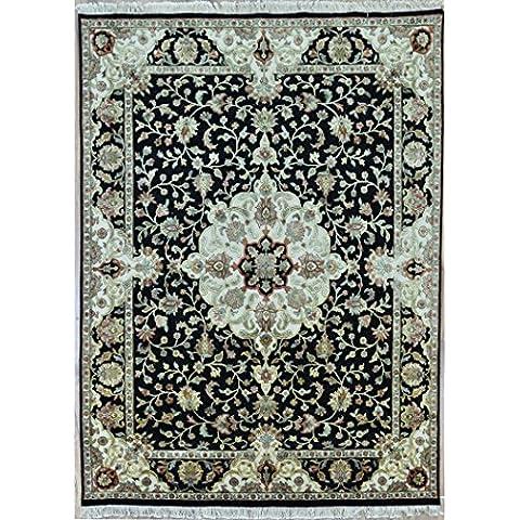 Splendid Indian Art negro-color marfil artesanal área persa de lana alfombra alfombra