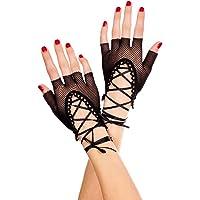 Njuyd - Guanti da donna a rete senza dita da donna, lunghezza al polso, sexy, stile punk, a mezze dita, colore solido, a…