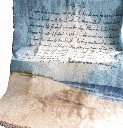 Manuelle Inspirierende Collection 50x 152,4cm Tapisserie Überwurf mit Gedicht, Spuren im Sand -