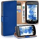 moex HTC One S | Hülle Blau mit Karten-Fach 360° Book Klapp-Hülle Handytasche Kunst-Leder Handyhülle für HTC One S Case Flip Cover Schutzhülle Tasche
