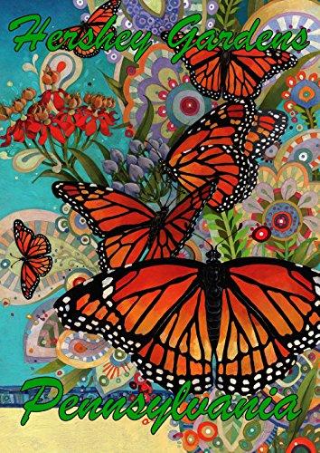 Toland Home Gartenflagge Monarch Madness Hershey Gardens Pennsylvania 31 x 46 cm Dekorative regionale Schmetterling Blume Garten Flagge