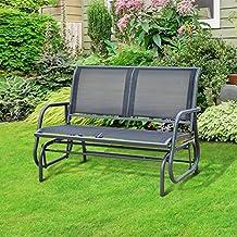 Banc à bascule de jardin design contemporain grand confort accoudoirs assise et dossier ergonomique acier textilène noir 123L x 70l x 87H cm neuf 93