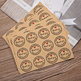 120Verpackung Kraft Label Aufkleber Hand Made rund Aufkleber mit 'Danke' und Herz für Backen Geschenk Tüte Aufkleber Dekorationen
