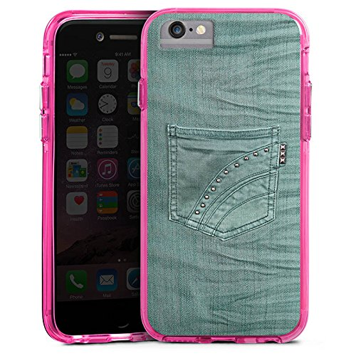 Apple iPhone 6s Bumper Hülle Bumper Case Glitzer Hülle Jeans Look Hose Fashion Bumper Case transparent pink