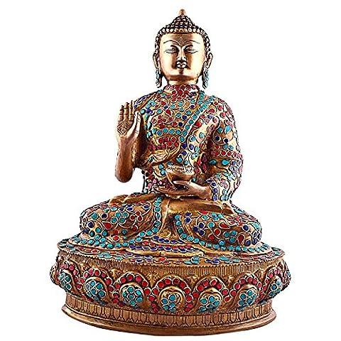 craftvatika 1,2Pieds de hauteur tibétain Bouddha Statue Grande Vintage, corail
