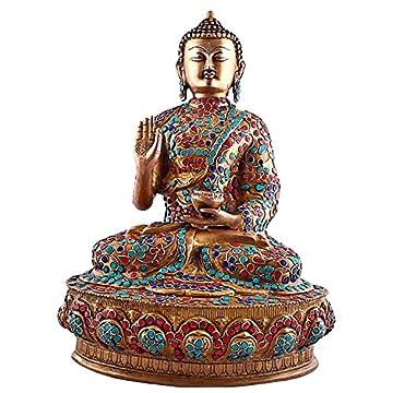 Es Craftvatika 36,58 cm alto figura estatua de Buda tamaño grande, Vintage bronce Old gemas turquesa Coral joya Sakyamuni find something different escultura de Buda 3