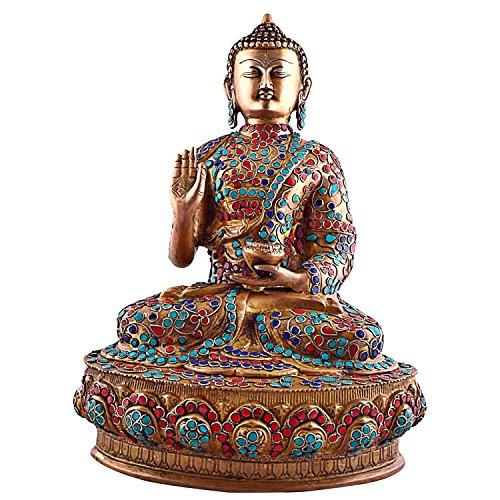Es Craftvatika 36,58 cm alto figura estatua de Buda tamaño grande, Vintage bronce Old gemas turquesa Coral joya Sakyamuni find something different escultura de Buda