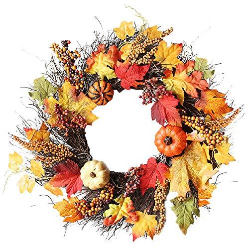 TIREOW 1 PCs Halloween Wreath Maple Leaf Kranz herbstkranz Kürbis Kranz mit Licht für die Haustür zu Hause Dekor Ostern Dekoration