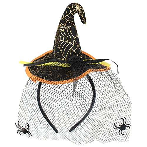 (Hosaire 1x Hexe Kopf Hoop Wildleder Stirnband Stoff Headwear Halloween Party Requisiten Zubehör 17 * 13CM Schwarz)