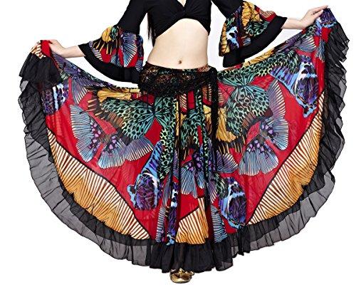 Dance Fairy Frauen Tribal Gypsy 25 Yards Baumwolle 720 Grad Bauchtanz lange Baumwollrock (Gypsy Halloween Hippie Kostüm)