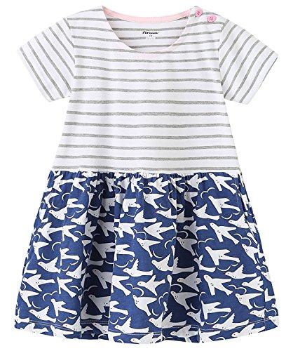 Kaily Mädchen Baumwolle Freizeit Kurze Ärmel Streifen T-Shirt Kleid (153Bird,5T)