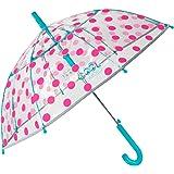 Paraguas Transparente Niña Lunares Fucsia Antiviento - Paraguas Infantil Cupula Dots - Detalles Azules y Ribete Plateado Refl