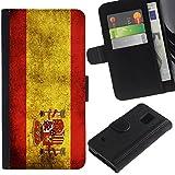 Graphic4You Español Bandera España Vintage Grunge Diseño Cuero Carcasa Funda Monedero para Samsung Galaxy S5