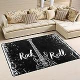 COOSUN E-Gitarre und Schriftzug Rock auf Rolle Grunge Hintergrund Bereich Teppich Teppich rutschfeste Fußmatte Fußmatten für Wohnzimmer Schlafzimmer 91.4 x 61 cm, Textil, multi, 36 x 24 inch