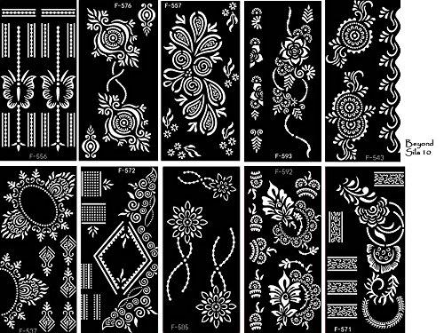 - Lot de 10 feuilles de pochoirs Sila à usage unique pour tatouages sur le corps. Convient également aux tatouages pailletés et à l'aérographe