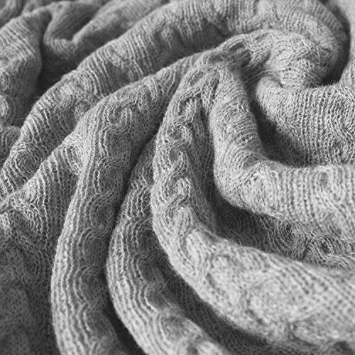 LORENZO CANA High End Luxus Alpakadecke 100% Alpaka Fair Trade Decke Wohndecke gestrickt Sofadecke Tagesdecke Kuscheldecke