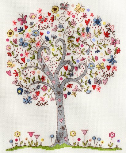 Body Threads Kreuzstichstickset Motiv Love Tree / Liebesbaum -