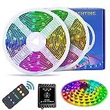 Dream Color Music LED leuchtet, Fityou 5mX2PCS Bunt LED Strips, Wasserdichte IP65 LED Kette mit Fernbedienung, 300 LEDs SMD 5050 Flexibler LED Schlauch mit Selbstklebend, für Party Weihnachten Neujahr